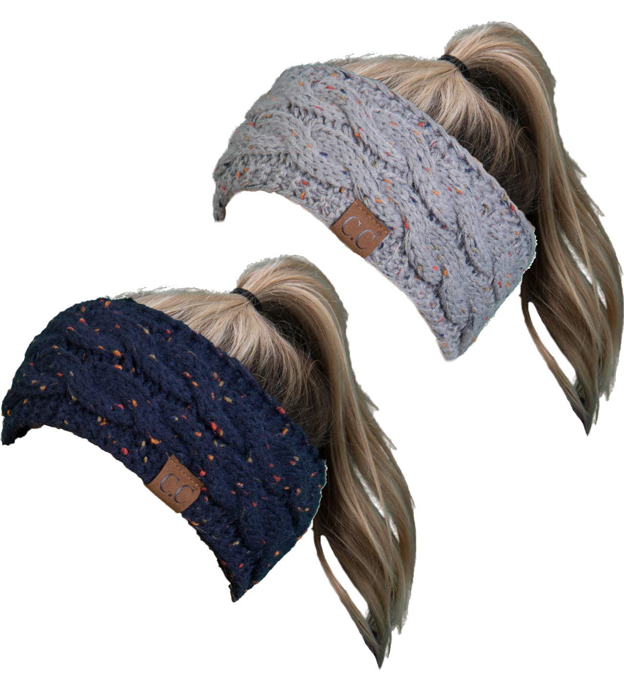 HW-6033-2-3176 Headwrap Bundle - Confetti Navy & Confetti Dove Grey (2 Pack)