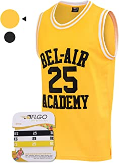 AFLGO Banks #25 Fresh Prince of Bel Air Academy Basketball Jersey, 90's Clothing Throwback Carlton Costume Athletic Apparel Clothing Stitched – Top Bonus Combo Set with Wristbands