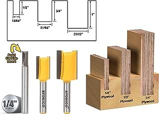 Yonico 14323q 3 Bit Undersize Plywood Dado Router Bit Set 1/4-Inch Shank