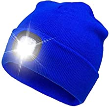 XXLYY Mannen Vrouwen Winter Knit LED Beanie Cap Mode Handsfree LED Verlichte USB Oplaadbare Koplamp Hoed, LED Afneembare