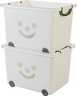 Iris Ohyama, set - 2 grandes boîtes de rangement pour jouet sur roulette - Smiley Kids Boxes - KCB-43, blanc, 34 L, 43,5 x...