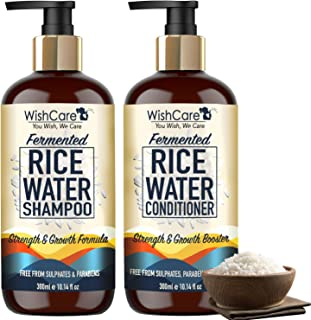 WishCare® Fermented Rice Water Shampoo and Conditioner Combo- Strength & Growth Formula - Free from Mineral Oils, Sulphate...