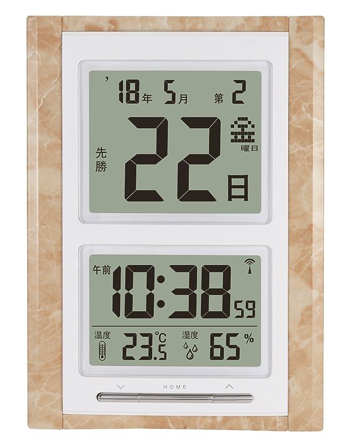 ピボット恐怖部分的にADESSO(アデッソ) 目覚まし時計 日めくり 電波時計 六曜 温度 湿度 日付表示 記念日設定機能付き 置き掛け兼用 ベージュ NA-101MS