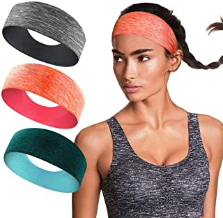 3 Pack Workout Headbands for Women – Sweat Wicking Hair Bands for Sports Fitness..