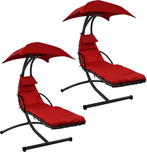 discount Sunnydaze Floating Chaise Lounger Swing Chair with Canopy, 79 Inch sale Long, Red, 260 outlet online sale Pound Capacity, Set of 2 online