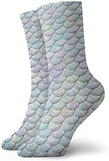 yting, Calcetines de vestir para niños y niñas con escamas de pescado de colores Calcetines deportivos para senderismo con soporte de arco Calcetines novedosos
