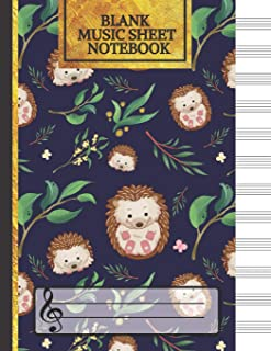 Blank Music Sheet Notebook: Little Hedgehogs Songwriting Journal: Lined/Ruled Paper And Staff (12 Staves) Manuscript Paper For Notes, Lyrics And Music. For Musicians, Music Lovers & Students