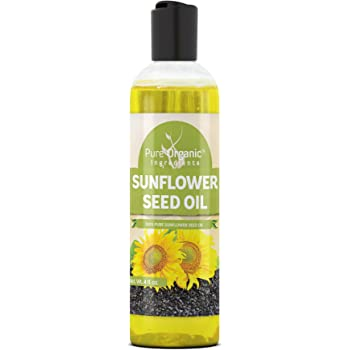 Sunflower Seed Oil (4 oz) by Pure Organic Ingredients, Vegan, Kosher, Non-GMO, Therapeutic Grade, Paraben Free, Silicone & Sulfate Free, BPA-Free Clear Bottle