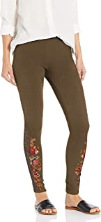 JWLA By Johnny Was Women's Stretchy Cotton Blend Legging with Embroidery