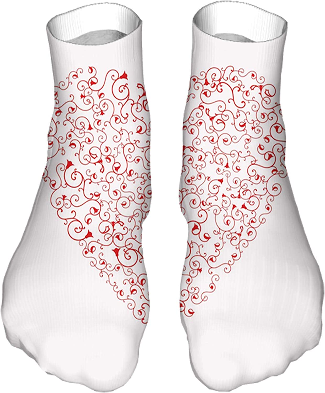 Men's and Women's Fun Socks Printed Cool Novelty Funny Socks,Composition of Swirls Heart on Pastel Colored Background