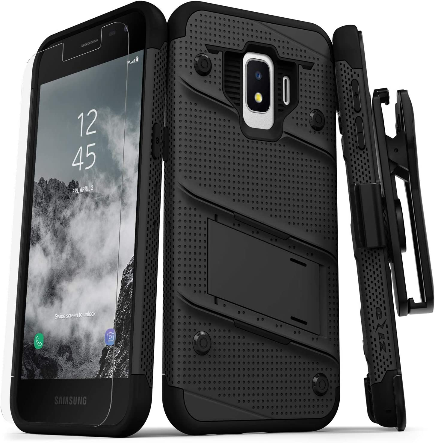 ZIZO Bolt Series Samsung Galaxy J2 Case Military Grade Drop Tested with Tempered Glass Screen Protector Holster J2 Pure Black Black