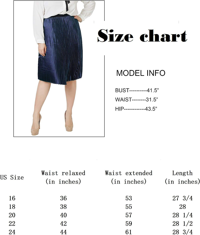 Carrotomato Women's High Waist Stretch Pleated Metallic Swing Dress Party A-line Midi Skirt