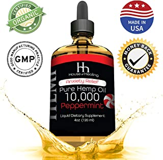 House of Healing Hemp Oil for Pain Anxiety Relief :: Hemp 10,000mg :: Hemp Extract :: May Help with Inflammation, Joints, Mood, Sleep & More :: Hemp Drops :: Rich in Omega 3,6,9 (Peppermint)