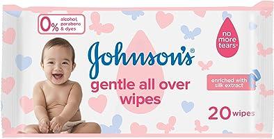 مناديل لتنظيف لطيف لكامل بشرة الاطفال من جونسون - 20 منديل
