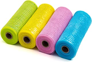 LaRibbons Deco Poly Mesh Ribbon - 10 inch x 30 feet Each Roll - Metallic Foil Green/Pink/Blue/Yellow for Easter Wreaths, Swags and Decorating - 4 Pack