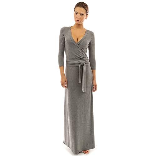 2143d44c73 PattyBoutik Women s 3 4 Sleeve Faux Wrap Maxi Dress