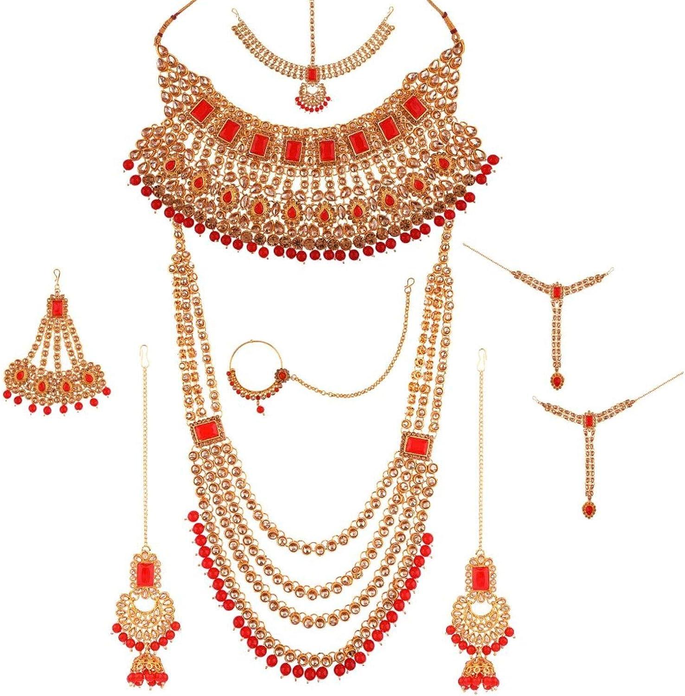 Efulgenz Indian Jewelry Bollywood Bridal Wedding Crystal Kundan Necklace Earring Maang Tikka Head Chain Nose Ring Bracelet Jewelry Set