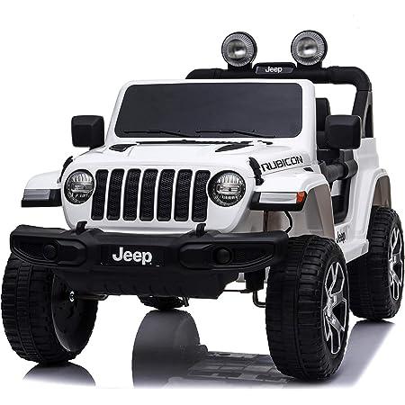 Babycar Jeep ® Wrangler Rubicon 2 Posti 12 Volt con Sedile in Pelle Macchina Elettrica Jeep per Bambini Porte apribili con Telecomando 2.4 GHz Soft Start Full Optional (Nera) (Bianco)