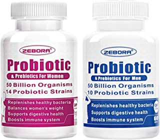 Probiotics for Women and Men with Prebiotics & Fiber 50 Billion CFU, Supports Digestive and Immune Health,Shelf Stable, Gl...
