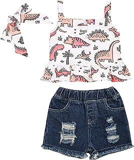 DELIMALI Baby Girls 3Pcs Clothes Set, Toddler Sleeveless Cartoon Print Tops+Denim Jean Shorts+Headband Set Outfit Set