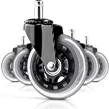 Office Chair Caster Wheels Set of 5 Rollerblade Style Heavy Duty Soft PU Rubber,Protect Your Floor - Quick & Quiet Rolling Over The Cables