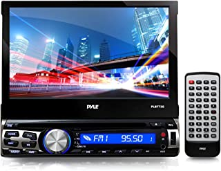 1Din DVD Receiver Bluetooth - 7-Inch Car Stereo Touch Screen Headunit Receiver - Built-In Mic, Hands-Free Call Answering -AM/FM Radio CD/DVD Car Audio System - Pyle PLBT73G