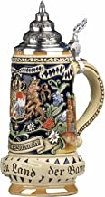 German Beer Stein Bavaria Stein, State Coat of Arms in centre panel, flanked by views of Munich and Neuschwanstein Castle, State Motto translated: God with you, Land of the Bavarians 0.5 liter tankard, beer mug