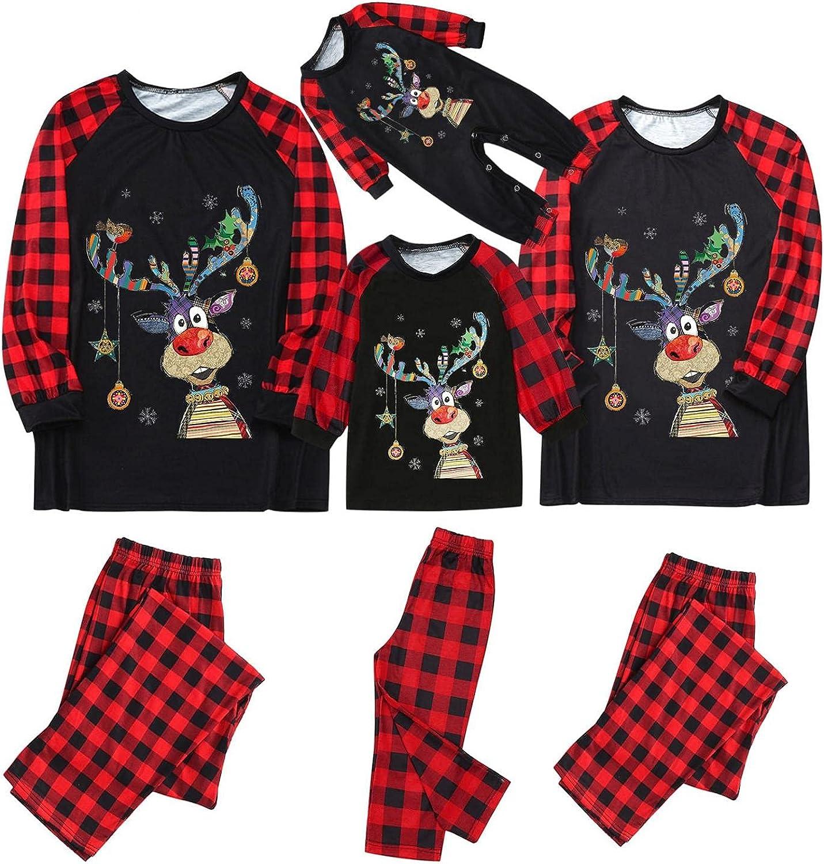 Pajama Set for The Family Matching Christmas Jammies Clothes Elk Printed Plaid Pants Holiday Sleepwear Long Sleeve Pjs