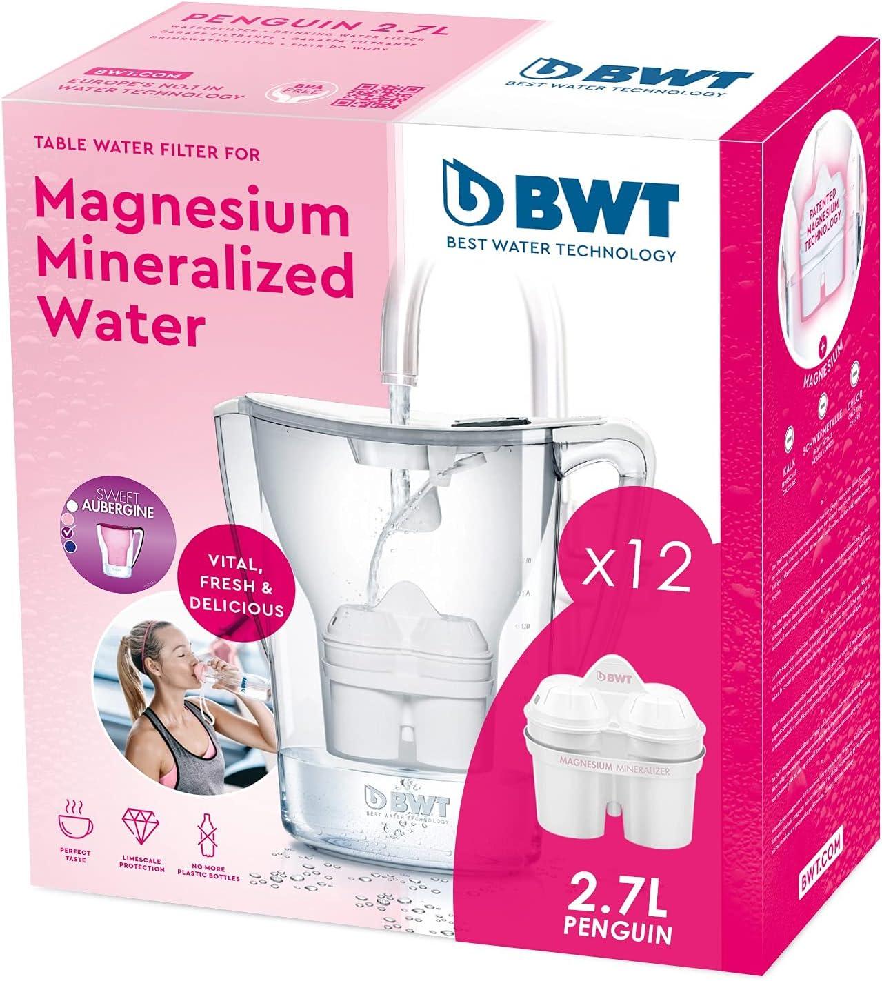 BWT Penguin Electrónica filtradora magnesio + Pack 12 filtros Jarra de Agua, 2,7 L Blanco
