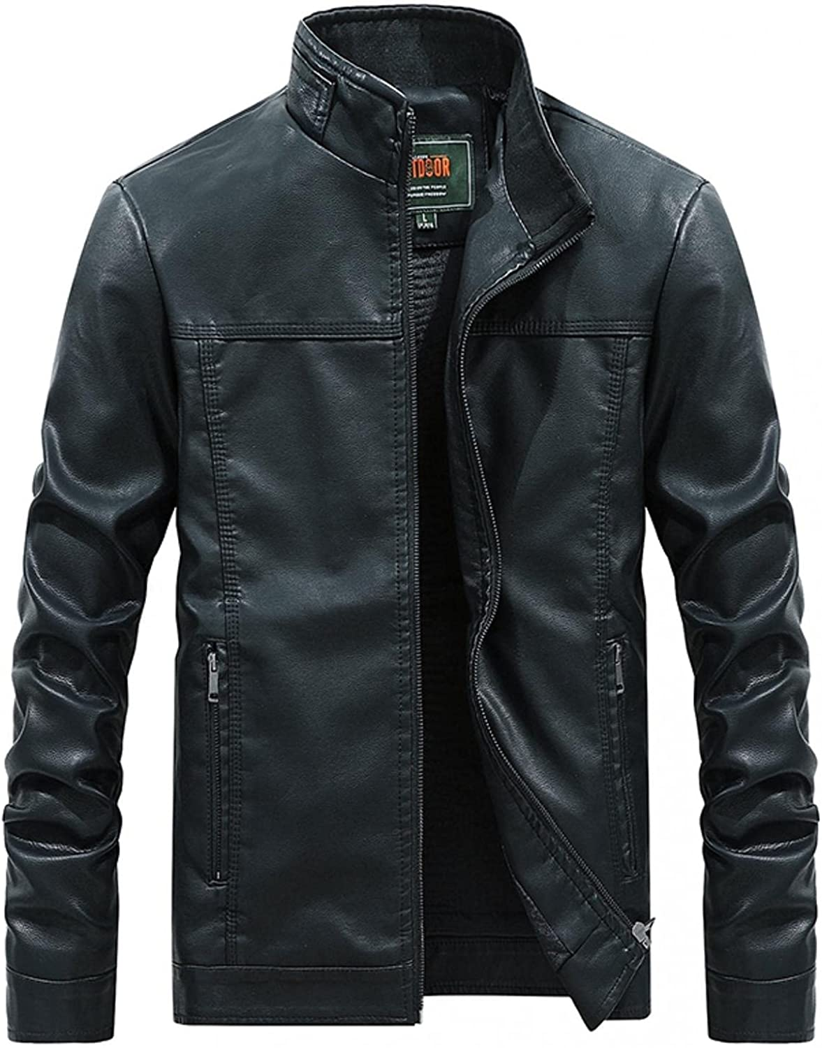 Jackets for Men Hoodies for Men Men's Solid Color Motorcycle Jacket Stand Collar Thick Leather Cool Jacket Fashion Hoodies