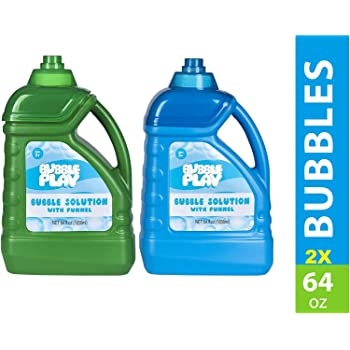BubblePlay 2 Bottles - 64-Ounce Bubble Solution - Includes Free Funnel - Fun Bubble Machines, Refills, Birthdays for Kids All Ages - Non Toxic