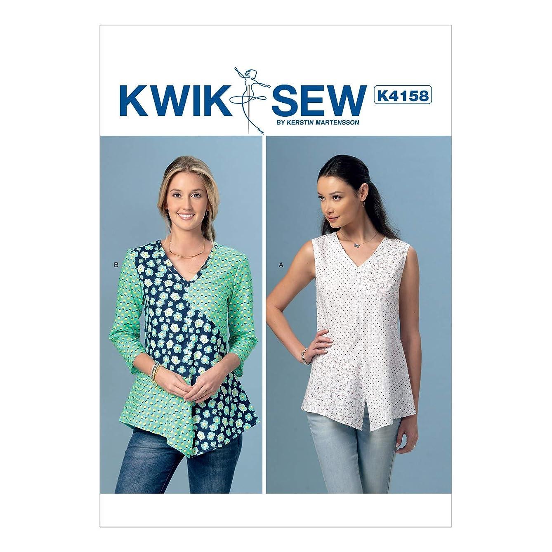 KWIK-SEW PATTERNS K4158 Misses' V-Neck, Contrast Tops, All Sizes