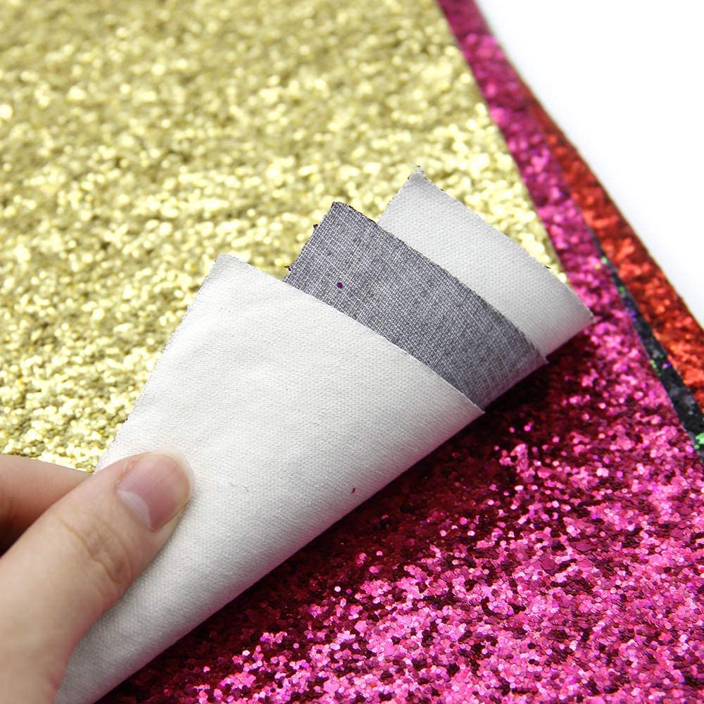 ForeMode Accessories Shiny Superfine Glitter Faux Leather Sheets Solid Color Synthetic Leather Fabric Canvas Back Assorted Colors for DIY Earrings Hair Bows Making Greta Fabric, 7 Colors
