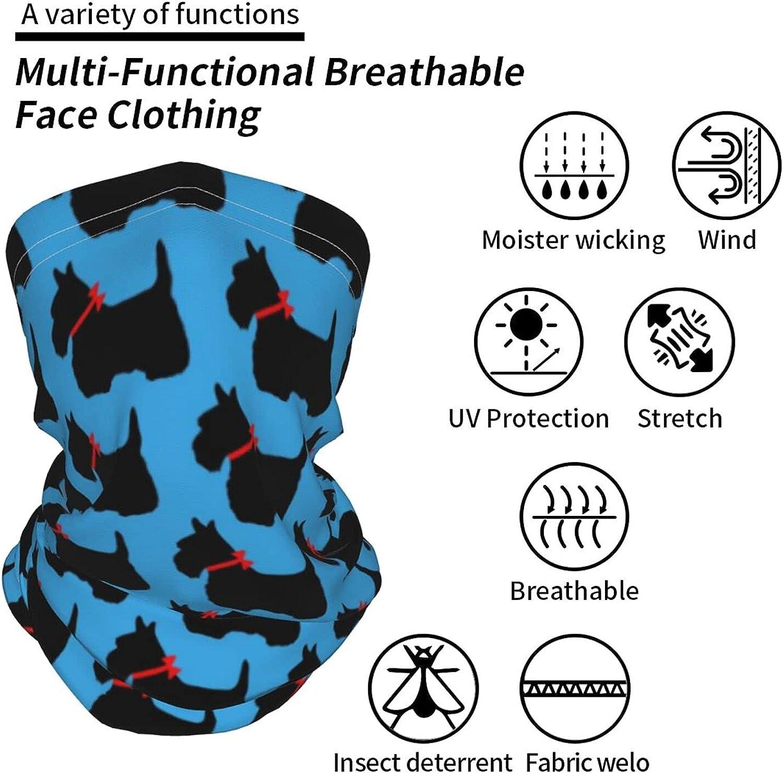 Scottie Dog Neck Gaiter Multipurpose Headwear Ice Silk Mask Scarf Summer Cool Breathable Outdoor Sport 2 Pcs