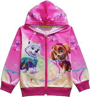 PCLOUD Little Girls' Cute Dog Printing Pink Hoodie Jacket