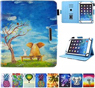9.5-10.5 inch Tablet Universal Case, JZCreater Synthetic Leather Case Cover for Apple iPad Air,New iPad 5th/6th Gen, Samsung Galaxy Tab A 10.1/Tab E 9.6 and More 9.5-10.5inch Tablet, Elephant & Rabbit