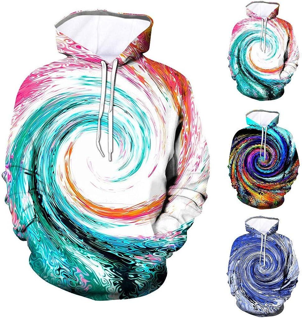 Realistic 3D Digital Print Hoodie Pullover Hooded Creative Geometric Dizzy Sweatshirt Coat