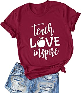 ZXH Women Teach Love Inspire Letter Graphic Print Short Sleeve Shirts Casual Tee Tops