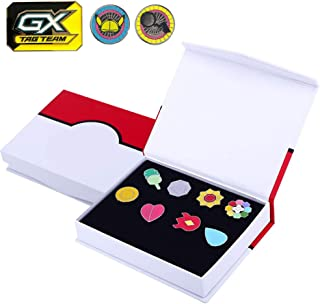 Totem World 8 Gym League Badges Set Metal Pins with Detective Metal Coin and GX Marker Inside a Gift Box
