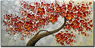 Asdam Art 100% Hand Painted 3D Paintings On Canvas Ready to Hang White and Red Flower Oil Paintings Abstract Modern Artwork Tree Wall Art for Living Room Bedroom (20X40 inch)