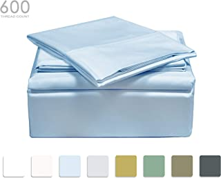 TRANQUIL NIGHTS - 600 Thread Count 100% Cotton Bed Sheet Set, 4-Piece Blue King Size Sheets, Soft & Silky Sateen Weave Luxury Bedding, Deep Pocket Sheets to Fit Upto 17