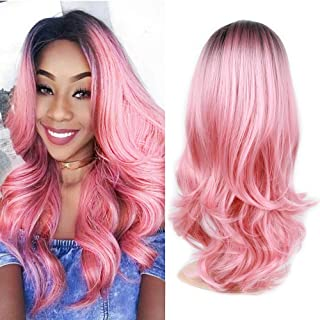 22 Inch Ombre Pink Long Curly Wig for Women Natural Wave Synthetic Hair Wig for Cosplay Halloween Party (Black/Pink with a Free Wig Cap)