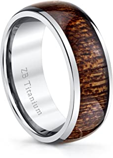 6MM/8MM ZB Titanium Wedding Band Rings Polished Dome Style with Redwood Inlay Beveled Edges for Men - Adventure