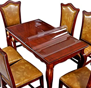 Clear Dining Room Table Protector Corner Kitchen Wood Coffee Side End Tabletop Countertop Cover Rectangular Desk Table Pad Office Chair Mat Furniture Protective Plastic Vinyl Tablecloth 46 x 90 Inch