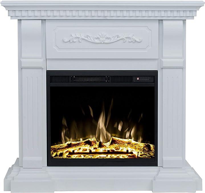 Camino elettrico led riviera bianco - realistico effetto fiamma a led, consumo solo 4w   classic fire B07X262KV6