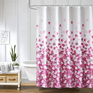 BOBOVCK Fabric Shower Curtains,Funny Colorful Waterproof Shower Curtain Sets for Bathroom, 72 by 72 Inch, with 12 Hooks (Pink)