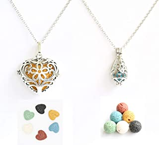 Fanmlife 2PCS Aromatherapy Essential Oil Diffuser Necklace Love Heart and Teardrop Pendants Necklace with Lava Stone for Women