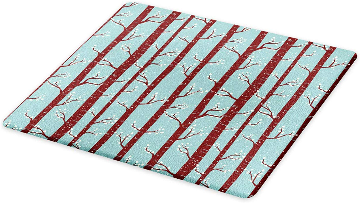 Ambesonne Forest Cutting Board Silhouettes Of Birch Trees With Foliage Leaves In Snowy Winter Season Decorative Tempered Glass Cutting And Serving Board Large Size Pale Blue Maroon Cream