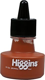 Higgins Pigmented Drawing Ink, Red, 1 Ounce Bottle (44645)