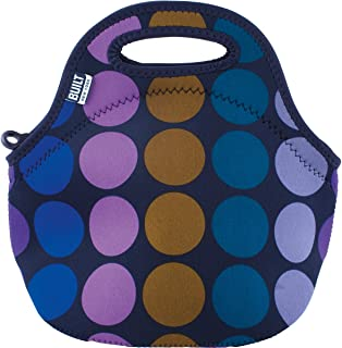 BUILT 5158488 Gourmet Getaway Mini Soft Neoprene Lunch Tote Bag-Lightweight, Insulated and Reusable, Plum Dot
